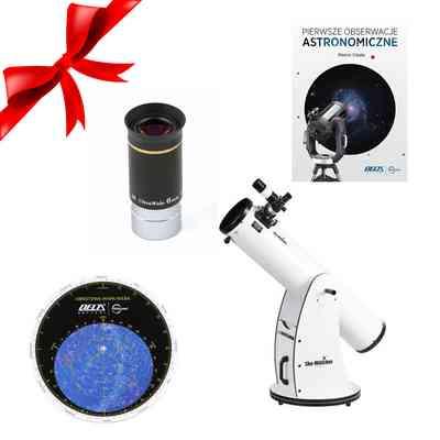 """Teleskop Dobson 8"""" Pyrex + Obrotowa mapa nieba DO + Okular SW WA 6 mm + Pierwsze Obserwacje Astronomiczne"""