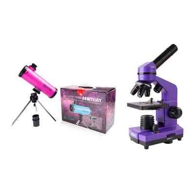 Teleskop Acuter Newton 50mm (rózowy) + Mikroskop DO BioLight 100 (fioletowy)